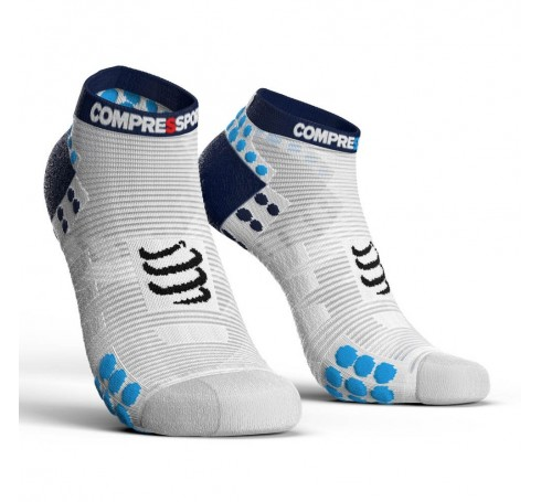 Compressport Racing Socks V3.0 Run Lo Uni Sokken Wit-blauw