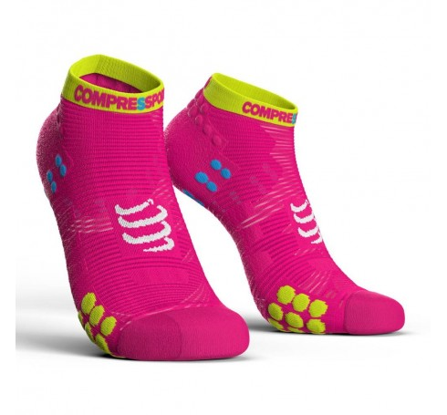 Compressport Racing Socks V3.0 Run Lo Uni Sokken Roze
