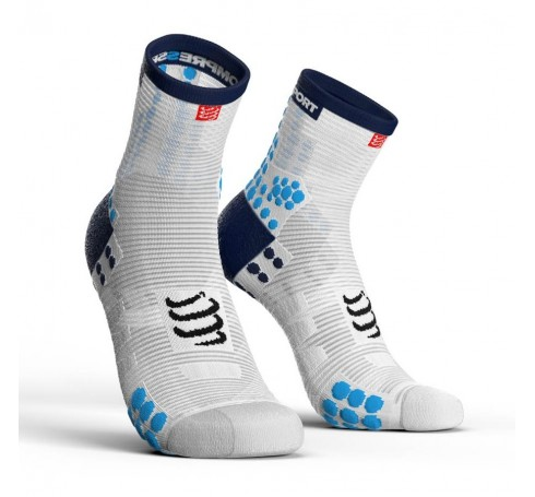 Compressport Racing Socks V3.0 Run Hi Uni Sokken Wit-blauw