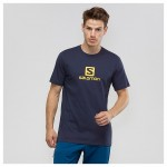 Coton Logo SS Tee M Heren Shirts & Tops Blauw