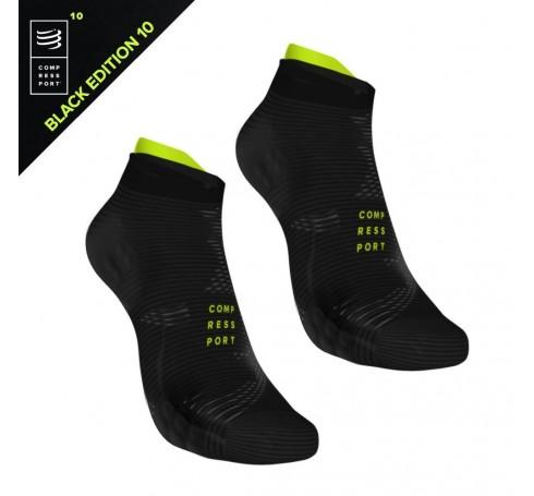 Compressport Racing Socks V3.0 Run Lo Black Edition Uni Sokken Zwart