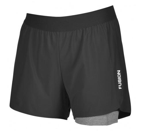 Fusion C3+ 2 -in-1 Run Shorts Uni Broeken Zwart